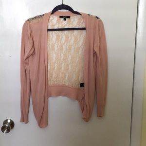 Pink lace back cardigan